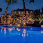 The pool at night at Casa Nova Estate