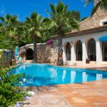 Pool and terraces at Masia Nur Sitges