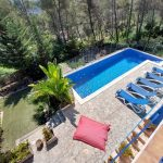 Swimming pool and garden from top terrace