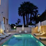 Villa Madonna pool area at night